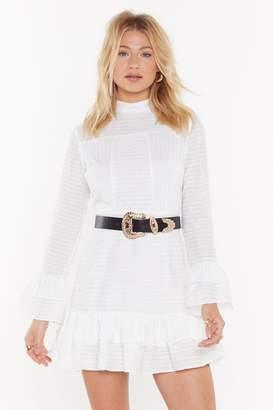 Nasty Gal Womens Draw the Line Ruffle Mini Dress - white - 10