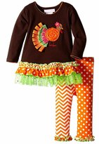 Bonnie Jean Little Girls' Pilgrim Turkey Appliqued Playwear Set