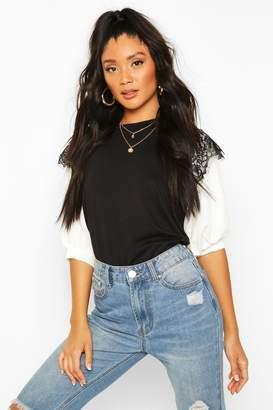 boohoo Lace Contrast Sleeve T-Shirt