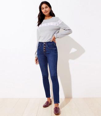 LOFT Modern High Waist Slim Pocket Skinny Jeans in Staple Dark Indigo Wash