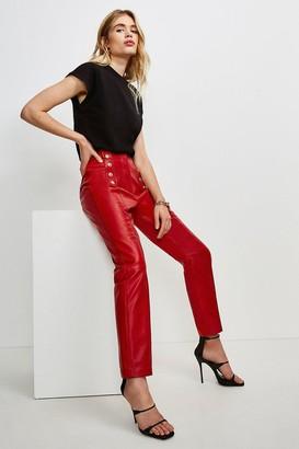 Karen Millen Leather Button Placket Trouser