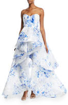 Monique Lhuillier Strapless Floral Ruffle-Front Gown