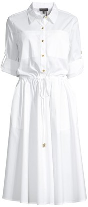 Donna Karan Roll-Sleeve Fit-&-Flare Shirtdress
