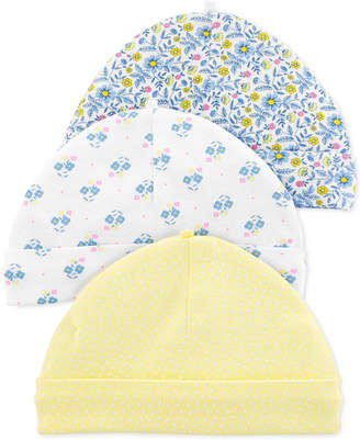 Carter's Carter Baby Girls 3-Pk. Floral-Print Cotton Caps