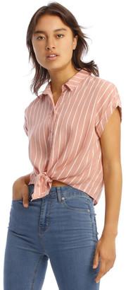 Miss Shop Pink Stripe Tie Waist Shirt