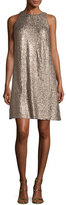 Aidan Mattox Sleeveless Sequin Swing Dress, Gold