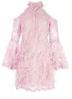 Marchesa feather embellished short dress