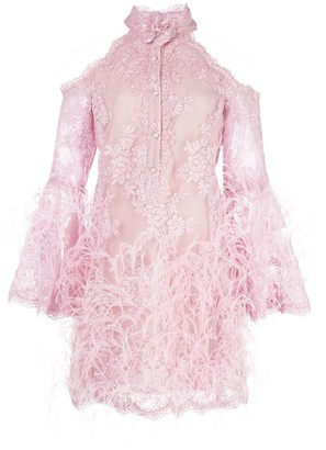 Marchesa Feather Embellished Short Dress
