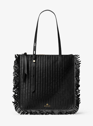 MICHAEL Michael Kors MK Tompkins Large Woven Leather Fringed Tote Bag - Black - Michael Kors
