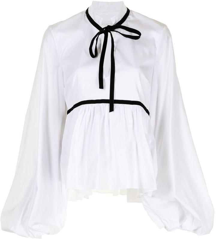 Caroline Constas Lynn velvet-ribbon blouse