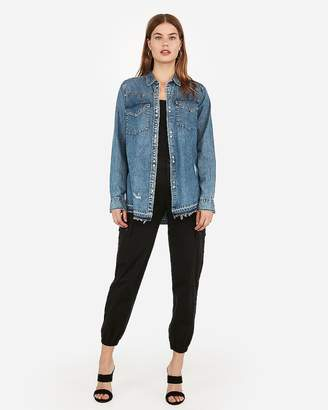 Express Ripped Western Denim Shirt