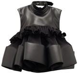Noir Kei Ninomiya Buckled Plisse-crepe And Faux-leather Top - Womens - Black