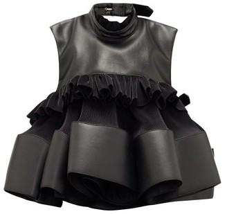 Noir Kei Ninomiya Buckled Plisse-crepe And Faux-leather Top - Womens - Black