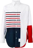 Thom Browne asymmetric colour block shirt - men - Cotton - 0