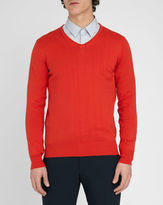 M.STUDIO Renaud red V-neck cotton sweater