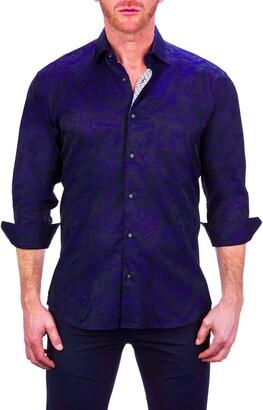 Maceoo Fibonacci Leaves Blue Button-Up Shirt
