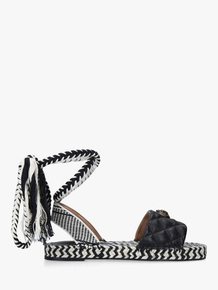 Kurt Geiger Mila Flat Leather Sandals, Black/White