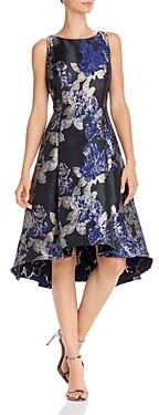Adrianna Papell Metallic Floral Fit-and-Flare Dress