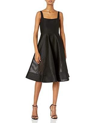 Halston Women's Sleeveless Wide Neck Dress with Stripe Mesh Skirt