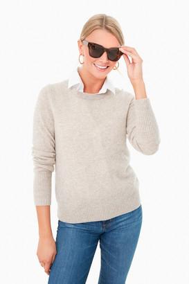 White + Warren Sand Wisp Heather Essential Cashmere Crewneck Sweater