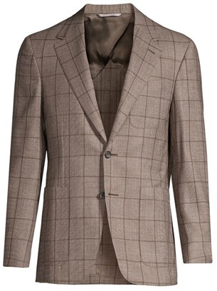 Canali Modern-Fit Windowpane Wool Jacket