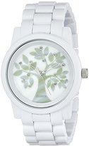 Sprout Women's ST5020MPWT Diamond Accented Tree Motif Dial and White Corn Resin Bracelet Watch