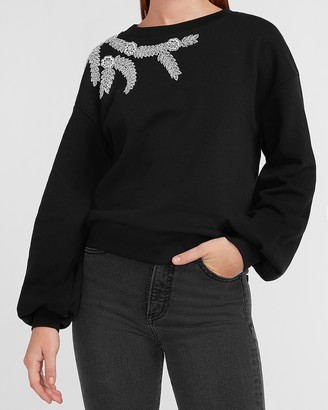Express Cozy Embellished Shoulder Sweatshirt
