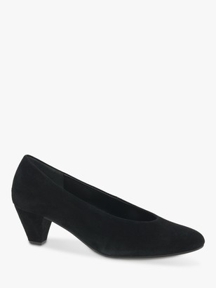 Gabor Gambit Suede Block Heeled Court Shoes, Black