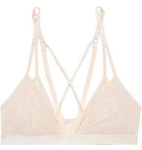 Heidi Klum Intimates Layered Leavers Lace And Stretch-tulle Triangle Bra