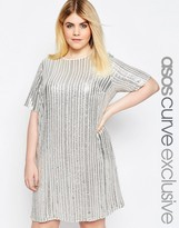 Asos Shift Dress With Sequin Stripes