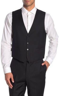 Calvin Klein Black Twill Slim Fit Suit Separate Vest