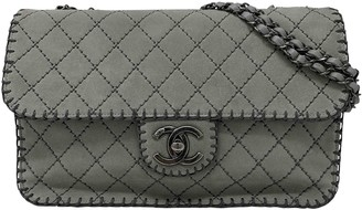 Chanel Timeless/Classique Grey Suede Handbags