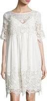 Velvet by Graham & Spencer Lace-Inset Cotton Dress, Cream