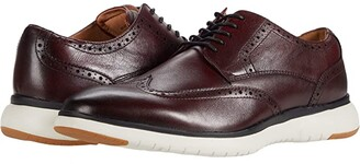 Florsheim Flair Wing Tip Oxford (Black Leather/White Sole) Men's Shoes