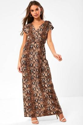 Monroe iClothing Snakeskin Print Maxi Dress in Brown