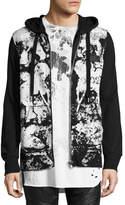 PRPS Abstract Paint-Splatter Zip-Front Hoodie, Black