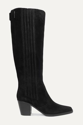Ganni Western Suede Knee Boots - Black