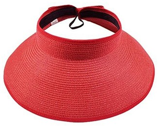 Zhoubaa ZHOUBA Women's Summer Wide Brim Roll Up Foldable Sun Beach Straw Braid Visor Sun Hat (Red)