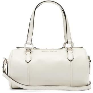 Miu Miu Mini Leather Bowling Bag - Womens - White