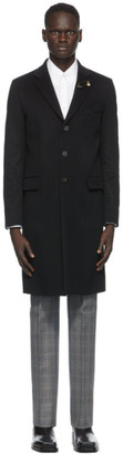 Givenchy Black Wool Lapel Pin Long Coat