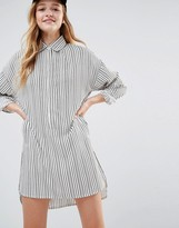 Daisy Street Shirt Dress In Tight Stripe