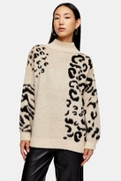Topshop Womens Knitted Mixed Animal Print Jumper - Multi
