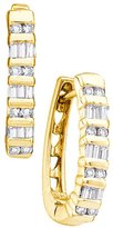 Katarina Round and Baguette Cut Diamond Hoop Earrings in 10K Yellow Gold (1/4 cttw)