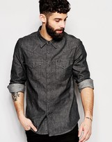 Lee Denim Shirt Slim Fit Western Clean Grey
