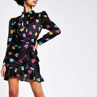 River Island Black heart printed long sleeve mini dress