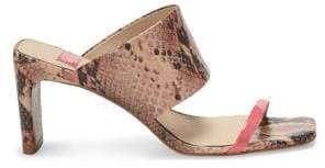 Louise et Cie Lula Snakeskin-Embossed Heeled Leather Sandals