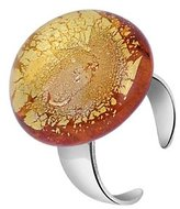 Murano Akuamarina Silver Leaf and Glass Round Open Ring