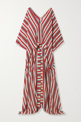Oscar de la Renta Belted Striped Silk-crepe Kaftan - Red