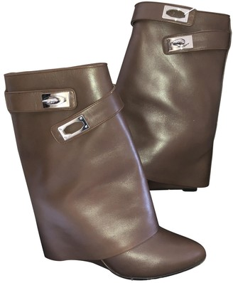 Givenchy Shark Brown Leather Ankle boots