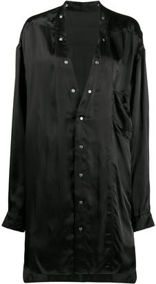 Rick Owens collarless longline shirt